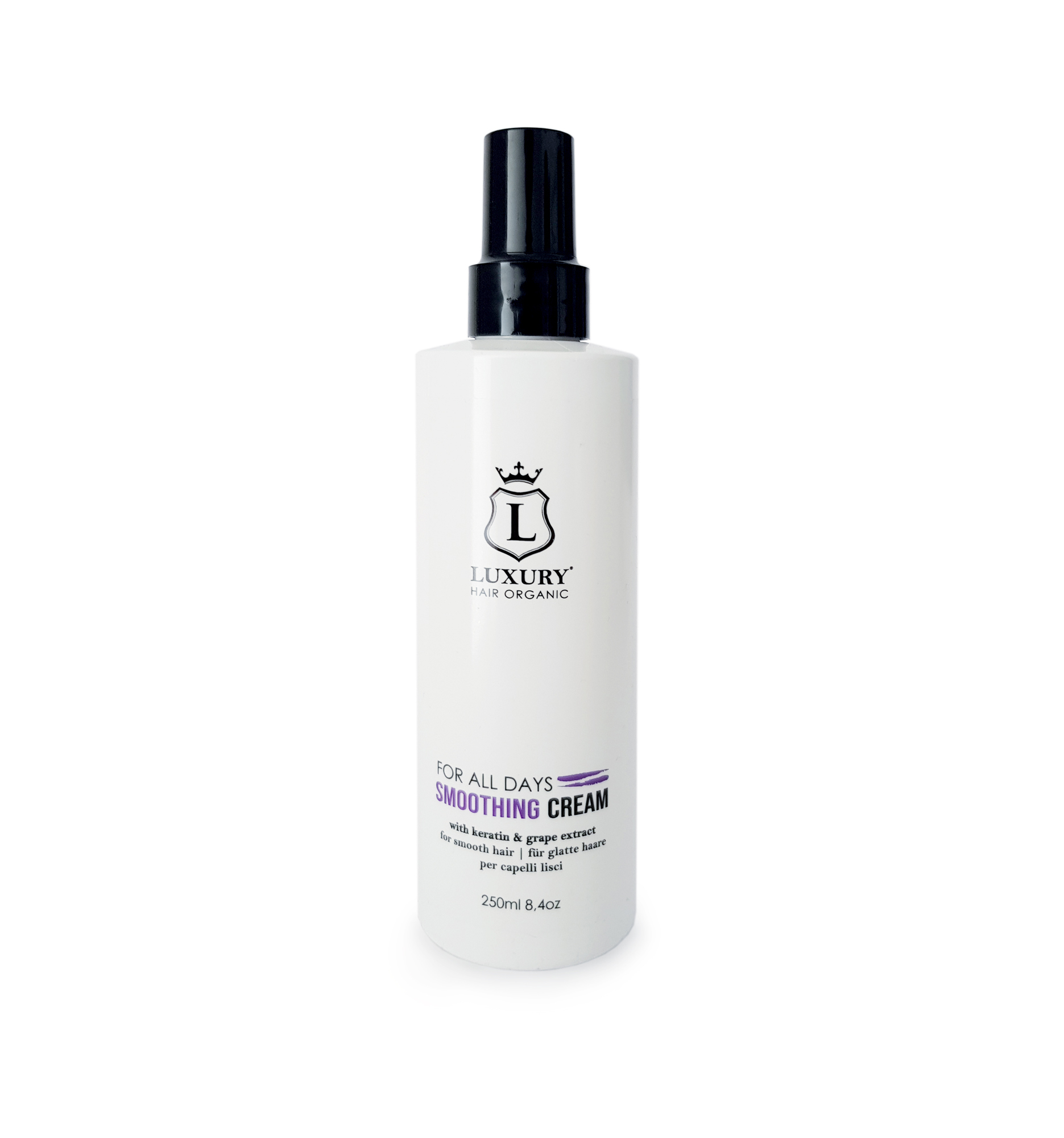 LUXURY-HAIR-ORGANIC-Smoothing-Cream-with-Keratin-&-Grape-extract-No-Rinse-250-ml-Flasche